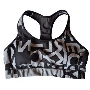 Adidas Lettering Abstract Black Grey Crop Top S-M